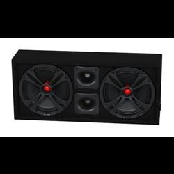 """QPower Loaded Enclosure (Dual 10"""" Speakers + Dual Bullet Tweeters)"""