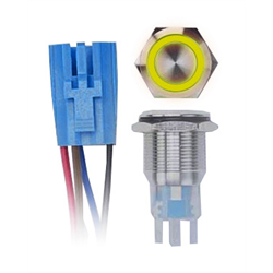 Install Bay Switch w/ Latch and Harness (19mm - Steel - Yellow LED - IP67)