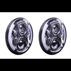 "Heise LED Headlights (7"" Round w/ Part Halo - Jeep Wrangler TJ / JK '07 - '18)"